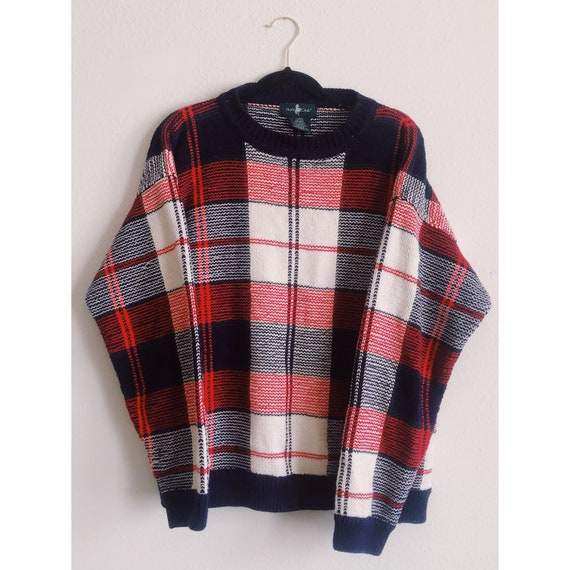 VINTAGE Plaid Sweater, Red, Navy & White