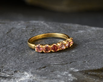 Sterling Silver Wedding Band Minimalist October Birthstone Band with Vermeil Eternity Band Pink Sapphire Band Pink Topaz Eternity Band