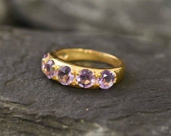 Wide Band Sturdy Band Natural Amethyst Purple Band Thick Ring February Birthstone Gold Vermeil Ring Gold Amethyst Ring Gemstone Ring
