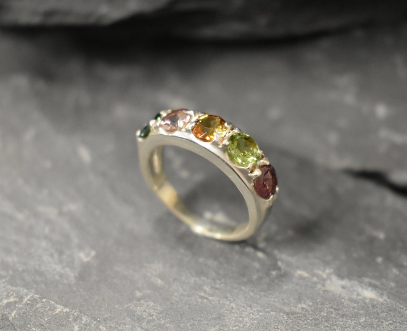 Wide Tourmaline Band Natural Tourmaline October Birthstone Gemstone Ring Statement Band Sturdy Band Stackable Ring Solid Silver Ring