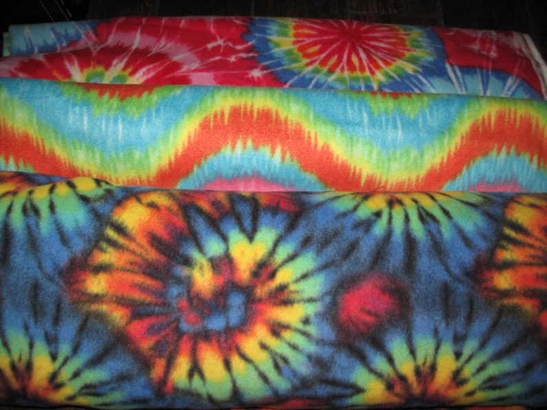 Tie-dyed Fleece Multicolor Fabric in 3 prints sold by fat quarter half yard or full yard quarter