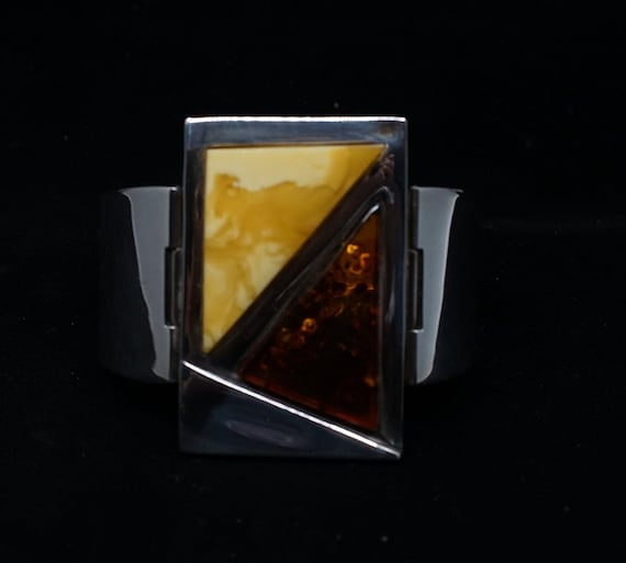 Incredible mid-century modern Amber and sterling c