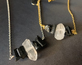 Black Tourmaline & Raw Quartz Adjustable Necklace