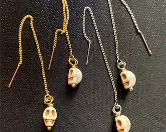 Howlite Skull Threader Earrings
