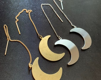 Crescent Moon Threader Earrings