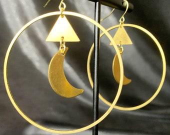 Crescent Moon & Triangle hoops, brass hoops