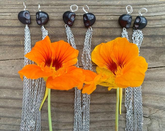 Featured listing image: Black Howlite Skull Chain Tassel Earrings