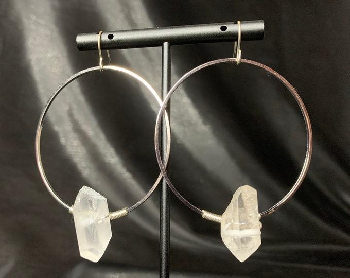 Featured listing image: Super Simple Quartz Hoops, gemstone earrings
