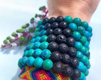 Chrysocolla Beaded Bracelet   Crystal Stretch Bracelet   Gemstone Stacking Bracelet