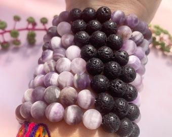 Matte Amethyst & Lava Stone Beaded Bracelet