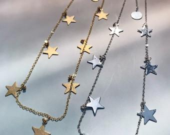 Adjustable Star Choker Necklace   Festival Jewelry   Charm Choker   Statement Necklace   Dainty Necklace   Minimalist Chain Choker