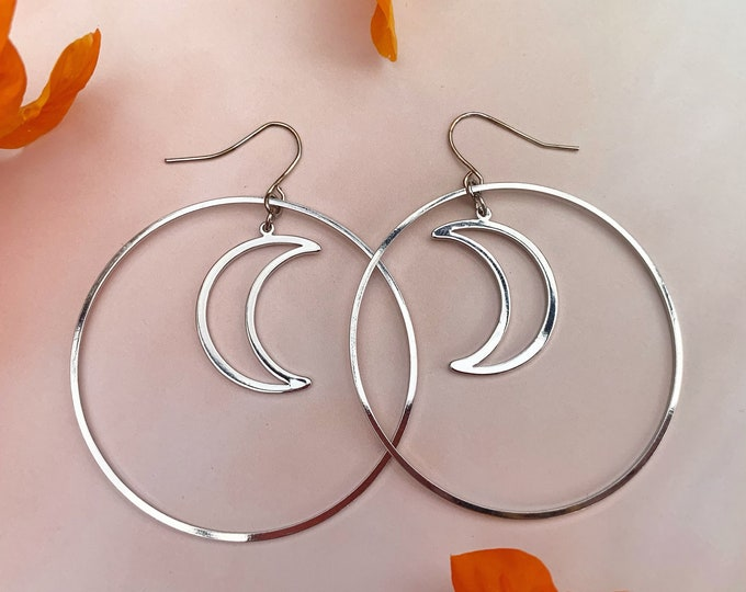 Featured listing image: Crescent Moon Hoop Statement Earrings