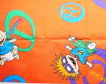 """Vintage Children's Cotton Fabric, Rug Rats Pattern; Orange, Blue, and Yellow; 96"""" x 44/45"""", 2 1/4 Yards, Previously Owned"""