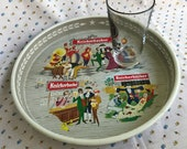 Vintage 1960s Round Knickerbocker Illustrated Beer Tray