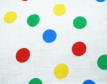 """Cotton Polka Dot Pattern Fabric; White, Yellow, Green, and Blue Colors; 122"""" (L) x 7.5"""" (W) Piece, Previously Owned"""