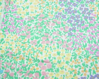 """Cotton Fabric; Ribbed Floral Pattern; Pastel Colors; 45""""x46"""", 1 1/4Yards, Previously Owned"""