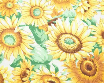 Vintage Quilting Cotton Fabric, Floral Sunflowers Pattern; Yellow, White, and Green Colors; 3 Pieces Available, Previously Owned