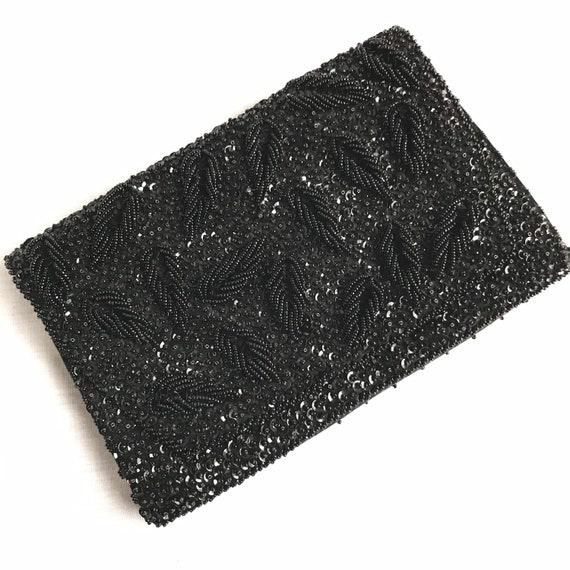 1960s Vintage Black Beaded Clutch Purse