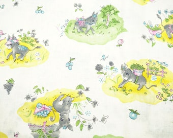 """Children's Cotton Quilting Fabric, Adorable Donkeys Pattern; Pastel Colors; 74"""" x 44/45"""", 2 Yards, Previously Owned"""