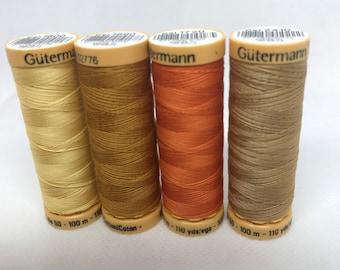 Gütermann Natural Cotton CNe 50 Wt Thread, 100m/110yds, Warm Colors