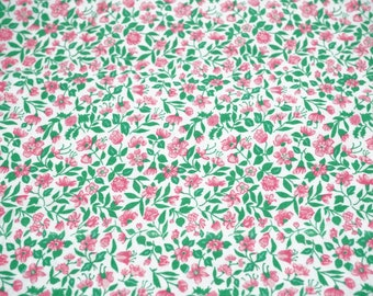 """Quilter's Cotton Fabric; Floral Pattern; White, Pink, and Green Colors; 35""""x44/45"""", Scant 1 Yard, Previously Owned"""