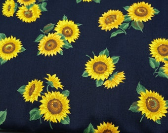 """Vintage Quilting Cotton Fabric, Floral Sunflowers Pattern; Yellow, Black, and Green Colors; 156"""" x 5"""", 4 1/4 Yards, Previously Owned"""