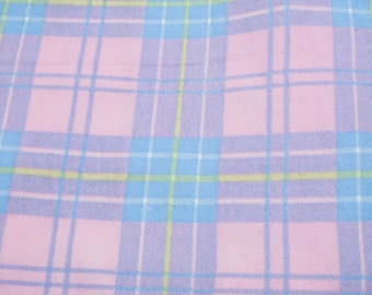 """Cotton Flannel Fabric, Plaid Pattern; Pastel Pink and Blue Colors; 68"""" x 58/60"""", 1 7/8 Yards, Previously Owned"""