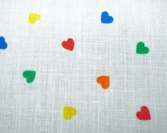 """Cotton Quilting Fabric, Hearts Blender Pattern; Multicolors; 117"""" x 44/45"""", 3 1/4 Yards, Previously Owned"""