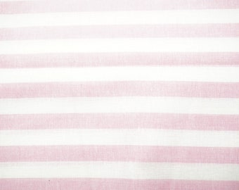"""Cotton Broadcloth Fabric, Striped Pattern; Pink and White Colors; 40"""" x 62"""", 1 Yard, Previously Owned"""