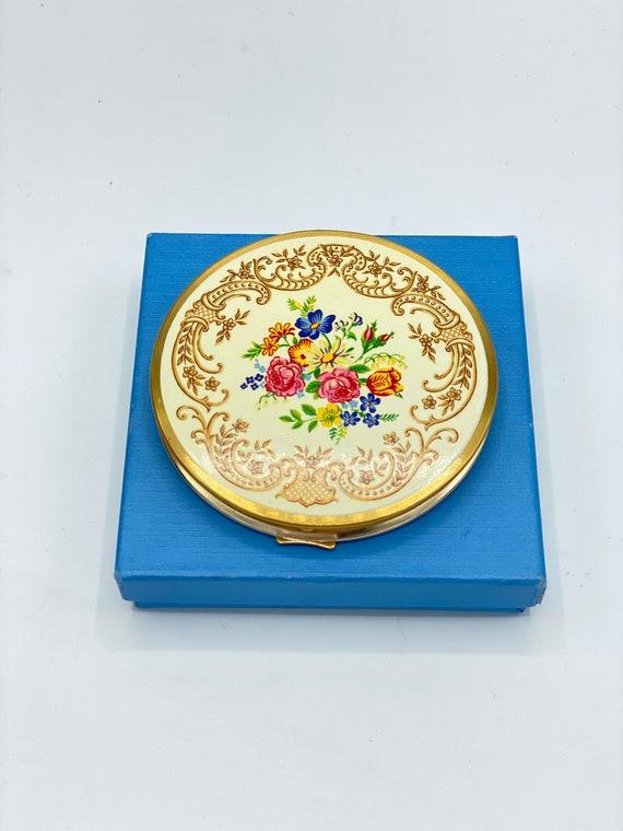 Vintage Floral Compact Made in England, Vintage Fl