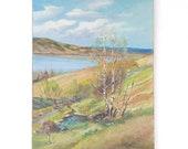 Vintage Landscape Oil Painting, Large Original Signed