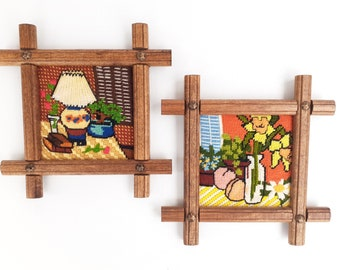 Vintage Needlepoint and Crewel Work Finished Framed Set of 2