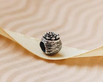Silver charm bead  for european bracelet. Yugen Silver Magnolia Never fear shadows