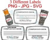 3 Composition Notebook Labels for Tumblers Sublimation or Water Slide JAV Designs PNG JPG Bonus Svg Cut File Included in zip file