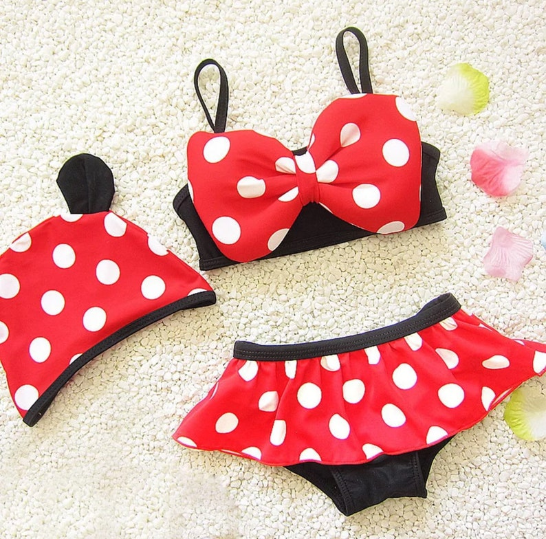 NEW Minnie Mouse Girls Red Polka Dot Bow Bikini Skirted Swimsuit 2T 3T 4T 5T