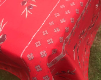 """French Provence 138""""x60""""polyester tablecloth (red with olives)"""