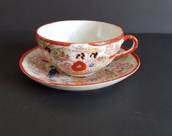 Nagoya Scenes with Geisha Girls and Flowers on Blue Background Tashiro Shoten Ltd Made in Japan Hand Painted Vintage Tea Cup and Saucer