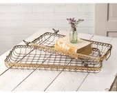 Nesting Wire Baskets With Birds Set of TWO