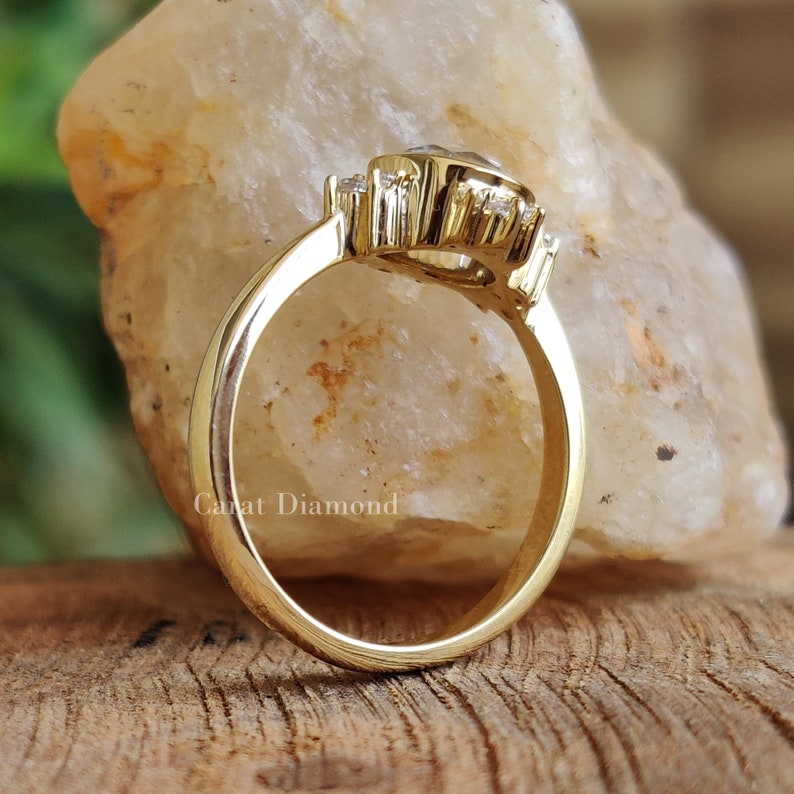 0.87TW Round Rose Cut Colorless Moissanite Ring 10K Yellow Gold Wedding Ring Anniversary Gift Bezel Set Ring Cluster Engagement Ring