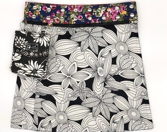 Unique reversible wrap skirt, one-size-fits-all, four-skirts-in-one