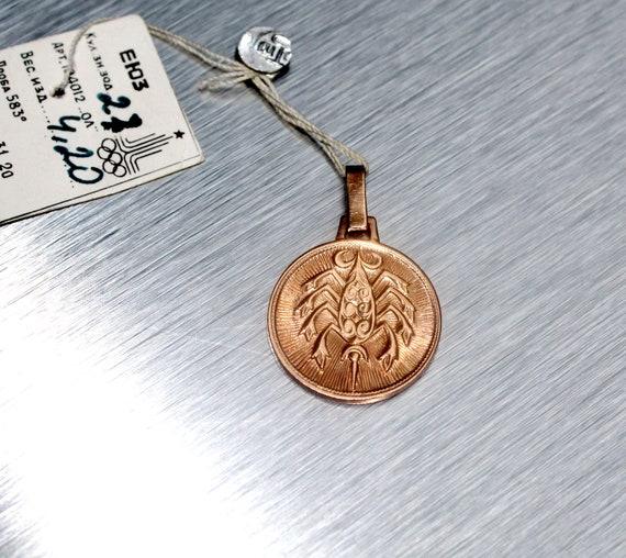 "Vintage Gold Pendant 583 Zodiac Sign ""Scorpio"" ast"