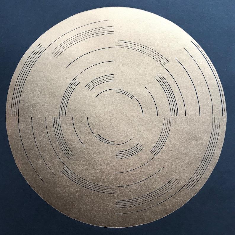 Geometric Linocut Print Full Circle 5 gold on image 0