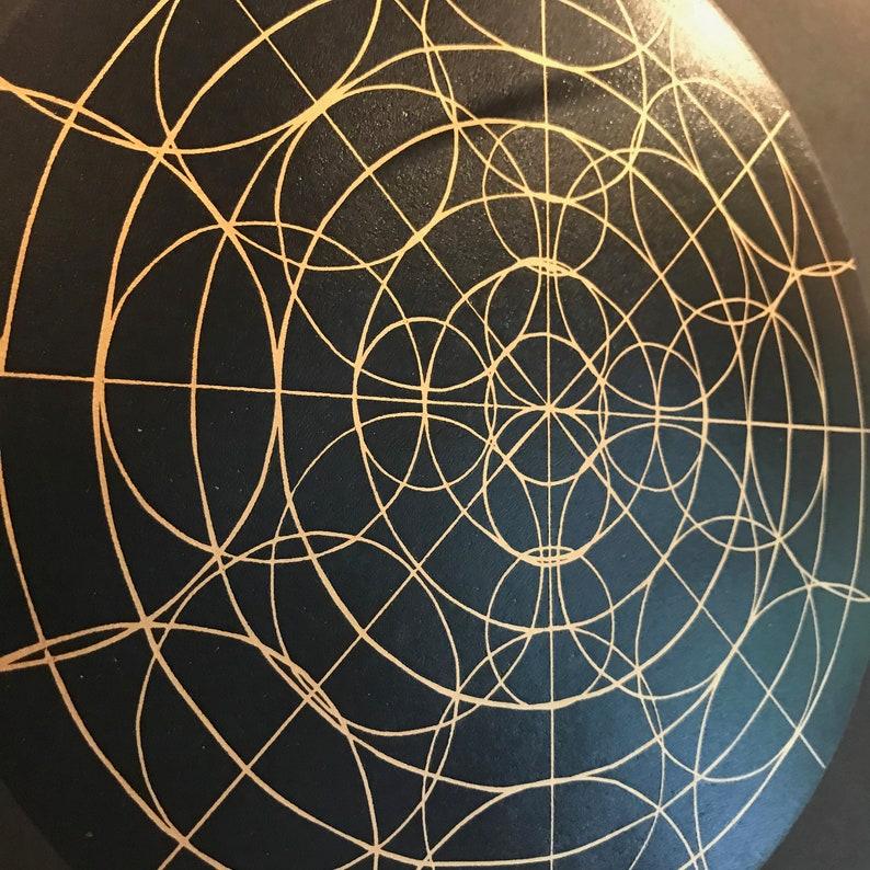 Geometric Linocut Print Full Circle Gold and image 0
