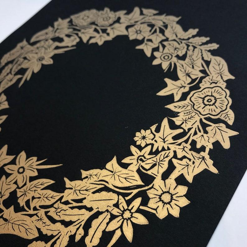 Linocut Print in Gold on Black Golden Wreath Wall image 0