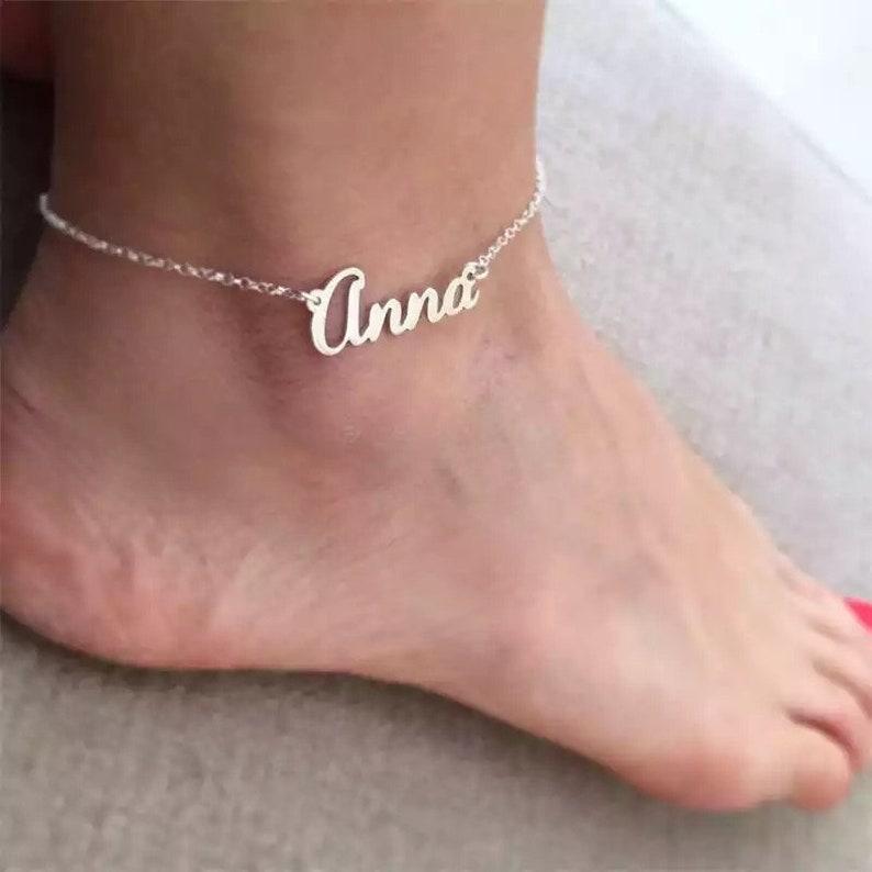 Personalized name anklet \u2022 wedding gift \u2022 anklet with name \u2022 gift for women \u2022 name anklet \u2022 anniversary gift \u2022 trendy anklet