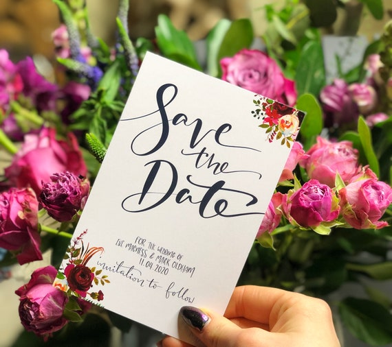 Floral Navy and Burgundy Save the Date