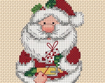 Holiday Cross Stitch Kit in Card Size Santa Checks Santa Head Counted Cross Stitch Kit 5 x 7 Santa Head with Checkered Border