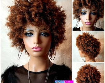 """Debbie"""" Short Hair Afro Kinky Curly Synthetic Wig (Heat Resistant) #30"""
