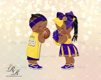 Instant Download Cheerleading Commercial Use Digital Clipart Images Graphics Designs Being Cheerful AA Dark Skin School Cheerleaders
