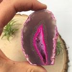Pink agate cut base freestanding slice